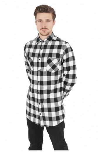 Camasa lunga barbati negru-alb XL