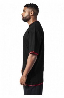 Tricouri largi hip hop negru-rosu XL