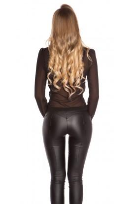 Bluza Transparenta Eleganta din Voal negru cu Maneci Lungi