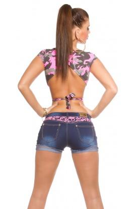 Pantaloni Scurti din Jeans cu Dantela la Buzunare + Bustiera