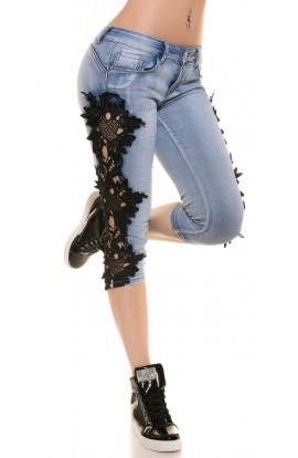 Blugi Trei Sferturi din Jeans cu Dantela pe Laterale