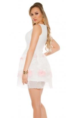 Rochie Scurta Alba Tip Baby Doll cu Detalii Brodate pe Fusta