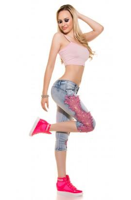 Blugi Trei Sferturi din Jeans cu Dantela roz pe Laterale