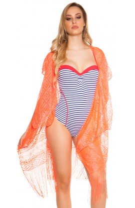 Kimono Transparent De Plaja cu Franjuri