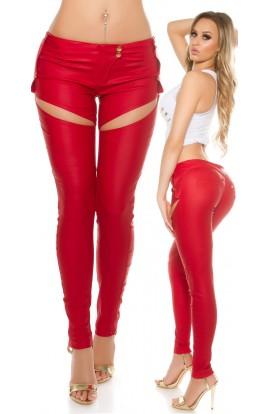 Pantaloni Piele Ecologica cu Decupaje Sexy