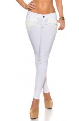 Pantaloni Lungi cu Insertii din Piele Ecologica si Talie Joasa