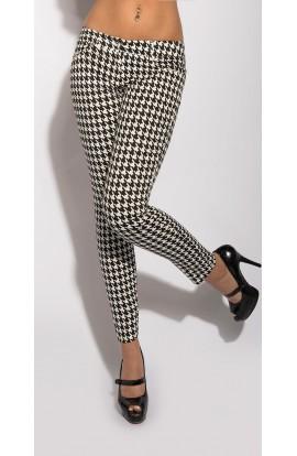 Pantaloni Office Tip Tigareta cu Imprimeu Alb Negru