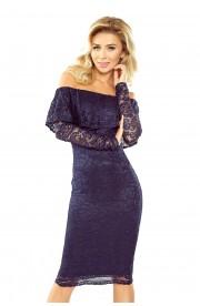Rochie din Dantela albastra cu Maneci Lungi - Model Spaniol
