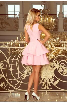 Rochie Scurta roz pastel BabyDoll Fara Maneci cu Fusta in Valuri
