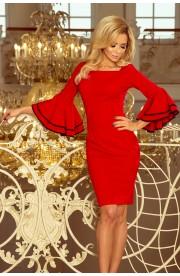 Rochie Rosie Midi cu Maneci Evazate - Model Spaniol
