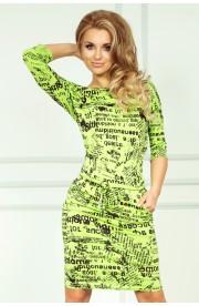 Rochie sport, verde,cu imprimeu ziar
