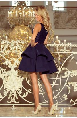 Rochie albastru inchis , Mini BabyDoll cu Insertii din Dantela