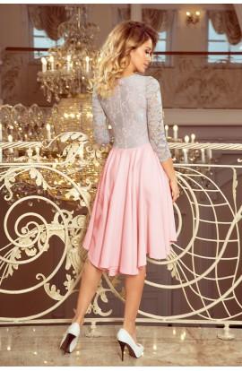 Rochie Asimetrica , roz pastel , cu Decolteu si Maneci Trei Sferturi
