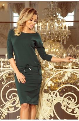 Rochie verde, midi casual cu maneci trei sferturi