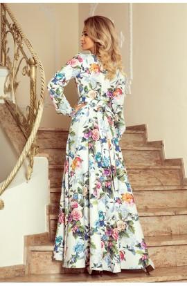 Rochie lunga Eleganta cu Volane la Guler