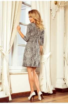Rochie trapezoidala eleganta ce imita pielea de sarpe