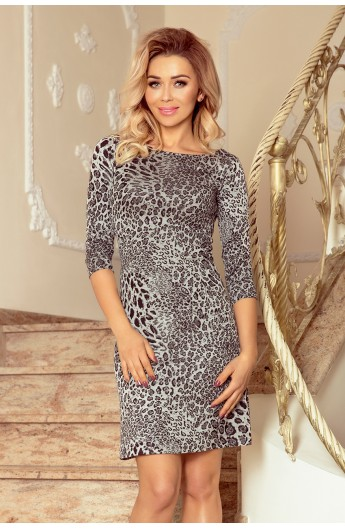 Rochie trapezoidala eleganta model leopard