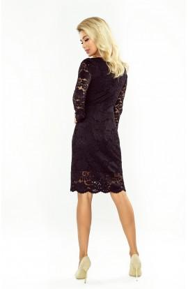 Rochie din dantela neagra cu ecolteu in V