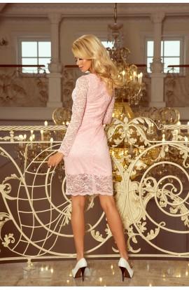 Rochie roz pastel din dantela , cu manecile lungi