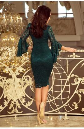 Rochie verde , eleganta din dantela cu maneci cu volane