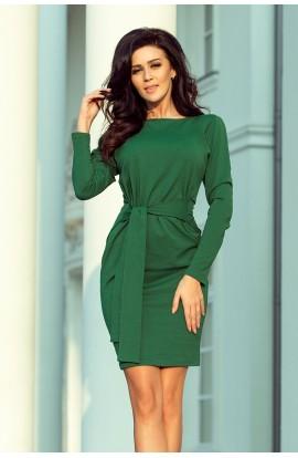 Rochie verde office mini cu maneci lungi si decolteu barcuta