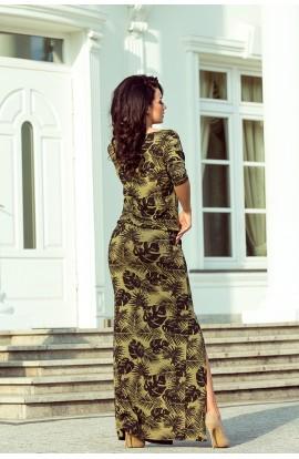 Rochie maxi casual cu maneci trei sferturi si anur in talie