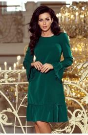 Rochie verde trapezoidala cu volane pe maneci si pe fusta