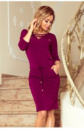 Rochie purple , casual cu snur in talie si buzunare