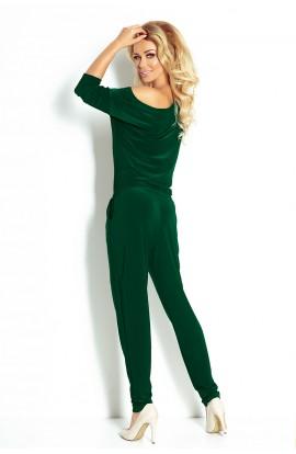 Salopeta casual , verde , cu snur in talie