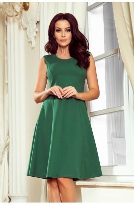 Rochie verde eleganta trapezoidala fara maneci