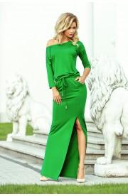 Rochie verde maxi, cu snur in fata, cu buzunare si slit