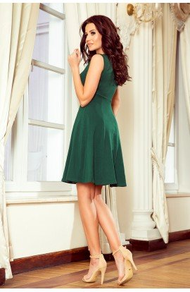 Rochie verde , scurta clos Fara Maneci cu Pliuri la Decolteu