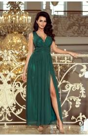 Rochie verde ,lunga cu crapatura ampla pe picior si captuseala