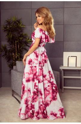 Rochie Maxi cu Imprimeu Floral si Decolteu Spaniol