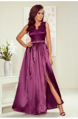 Rochie lungă , violet , cu decolteu brodat