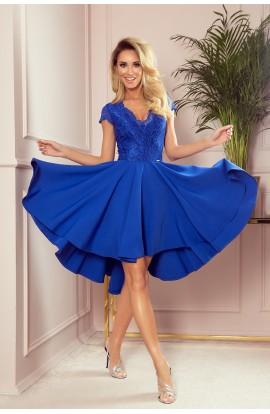 Rochie asimetrica albastra cu decolteu din dantela