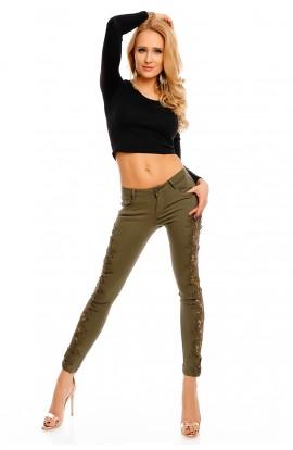 Pantaloni kaki lungi cu insertii din dantela pe laterale