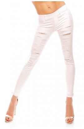 Pantaloni Skinny albi cu Taieturi