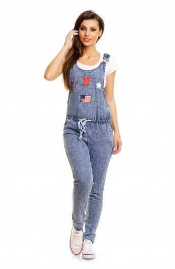Salopeta Casual din Jeans cu Siret in Talie