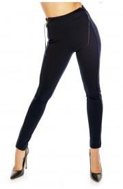 Pantaloni Eleganti Mulati cu Detalii din Piele Ecologica