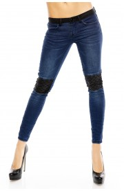 Jeansi Skinny cu Insertii din Piele Ecologica