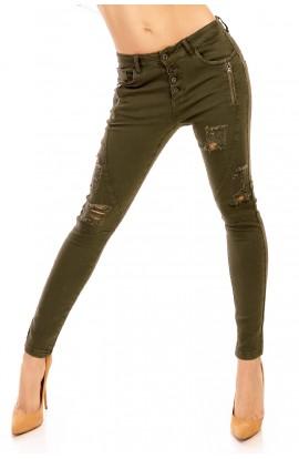 Jeansi kaki skinny cu Taieturi si Fermoare Decorative