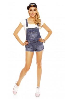 Salopeta Scurta din Jeans cu Franjuri la Baza