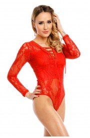 Body rosu sexy din Dantela cu Insertii Transparente