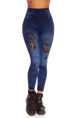 Leggings cu Aspect de Jeansi si Rupturi