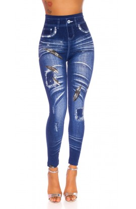 Colanti dama cu talie inalta cu Imprimeu tip jeans