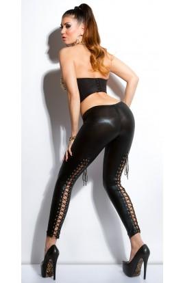 Colanti negri , super sexy cu impletituri la spate