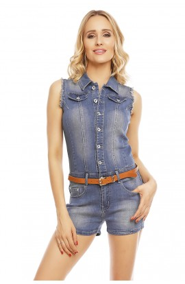 Salopeta casual scurta din jeans