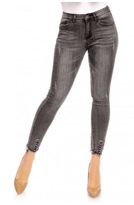 Jeans dama gri , slim fit , aspect decolorat