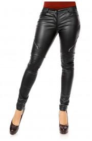 Pantaloni Lungi din Piele Ecologica si cu Fermoare Decorative
